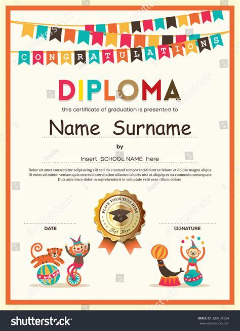 Preschool Elementary School Kids Diploma Certificate Stock Vector 289184354 Shutterstock Diploma Certificate Template