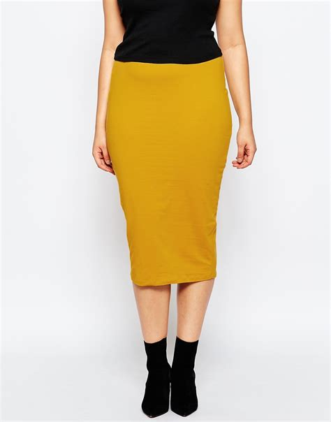 yellow pattern pencil skirt lyst asos midi pencil skirt in jersey in yellow
