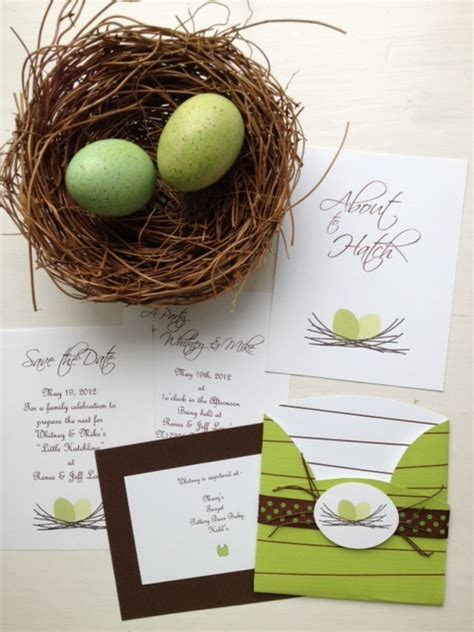 Baby Nest Motif Semangka Polkadot Merah Nest Invitations For Baby Shower Using Quot About To Hatch