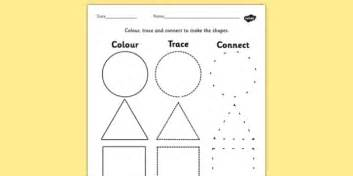 shape pattern twinkl 2d shape colour trace and join the dots colour trace join