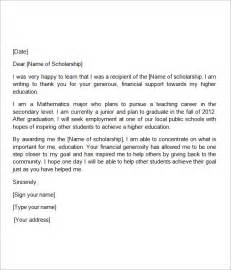 Thank You Letter For College Scholarship Sle Scholarship Thank You Letter 11 Documents In Pdf