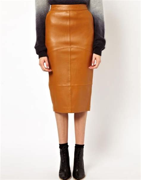 asos white pencil skirt in leather in brown lyst