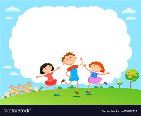 play in background children play clouds design sky background vector image