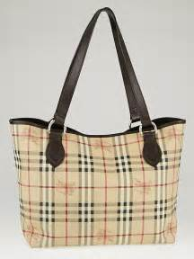 Burberry Check Canvas Tote by Burberry Brown Leather Haymarket Check Coated Canvas Large