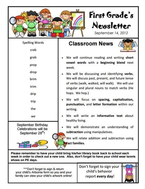 kindergarten newsletter template free the letter sle