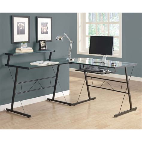 L Shaped Glass Top Desk Glass Top Metal L Shaped Computer Desk In Black I 7172