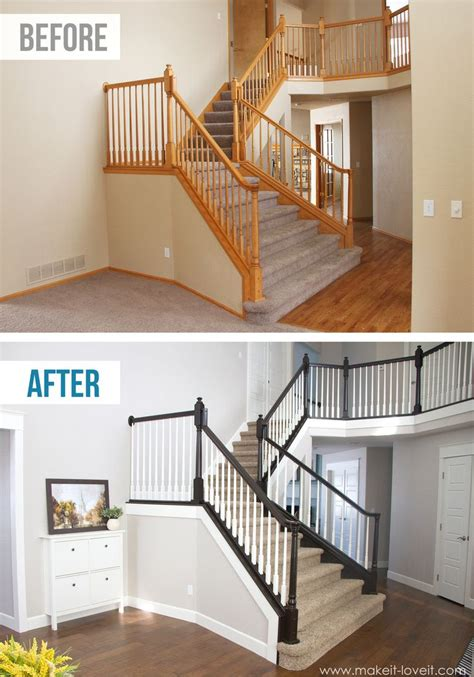 oak banister makeover diy how to stain and paint an oak banister spindles and