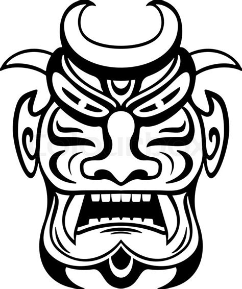 aztec mask template ancient ceremony mask isolated on white for design stock