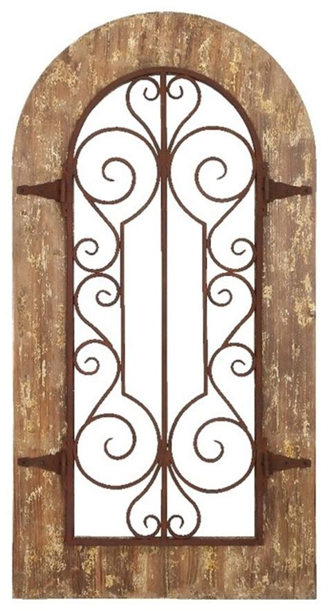 arch shaped wall decor arch shape wood metal wall panel stately includes scroll