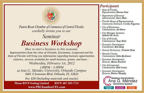 Business Seminar Invitation Template business workshop how to start a business in this