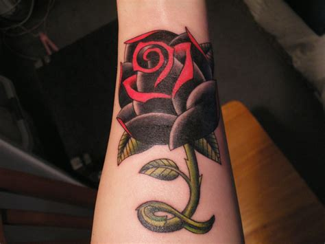 black and red rose tattoo ideas design