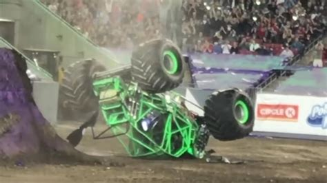 monster trucks grave digger crashes dennis anderson recovering after scary crash in the grave