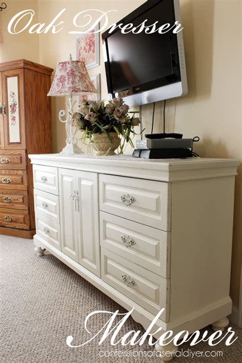 white painted oak bedroom furniture oak dresser makeover confessions of a serial do it