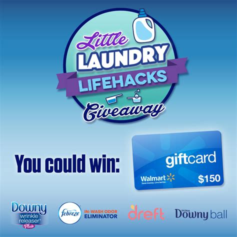 Gift Card Spread Promo Code - laundry lifehack prize pack 150 walmart gift card downywrinklereleaser coupon nannie