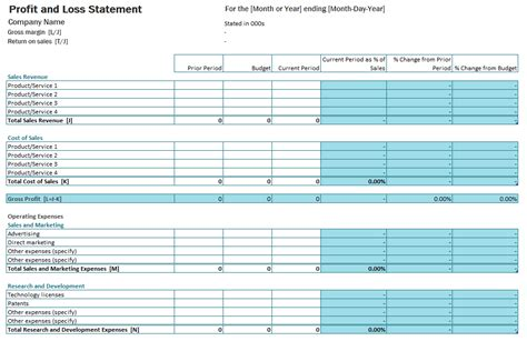profit and loss account template doc 1026665 free profit and loss account templates for