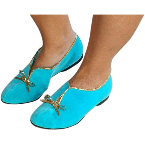 flat turquoise shoes pristine quot leisure class quot turquoise blue velvet flat shoes