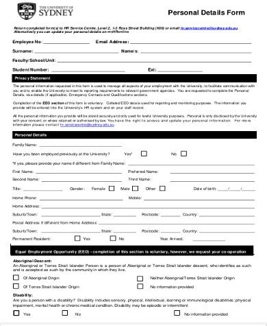 personal particulars form template personal particulars form template 28 images sle