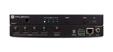 Switcher Multi Input 4 Port Splitter Hdmi With Wall Controller juno 451 4k hdr 4 input hdmi switcher atlona