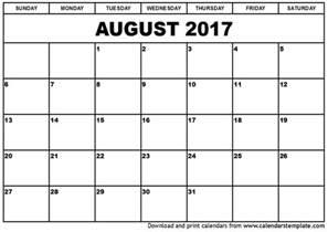 august 2017 calendar weekly calendar template