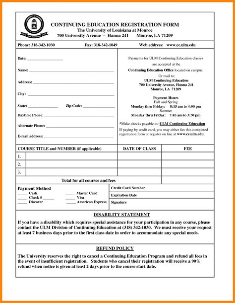 school registration form template word 11 school admission form sle in ms word nanny resumed