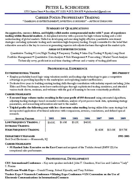 High Frequency Trader Sle Resume by Proprietary Trading Resume Exle Prop Trading Sle Resumes
