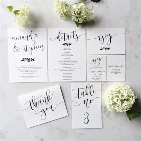 modern calligraphy wedding invitation suite in etsy shop on simple wedding invitations