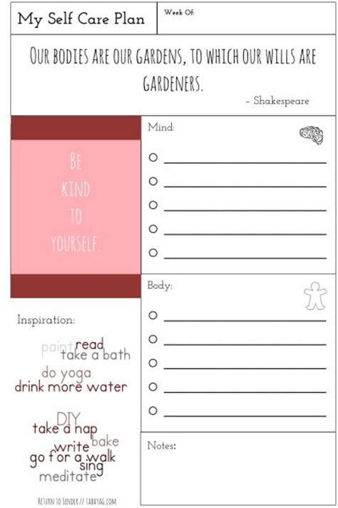 self care care plans and free printable on pinterest