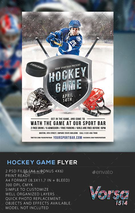 hockey flyer template hockey flyer by vorsa graphicriver