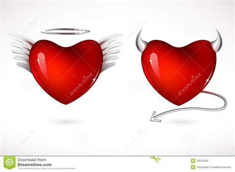 imagenes de corazones a la mitad coeurs d ange et de diable photo libre de droits image