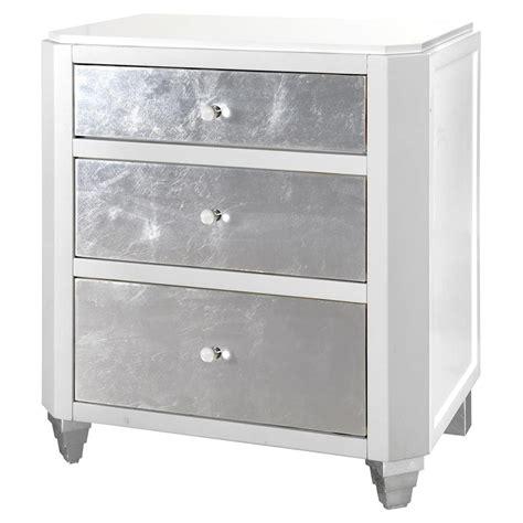 Silver Leaf Nightstand Myrna Regency White Lacquer Silver Leaf Nightstand Kathy Kuo Home