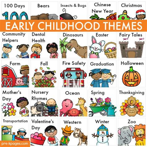 book themes for kindergarten themes literacy activities early childhood and free
