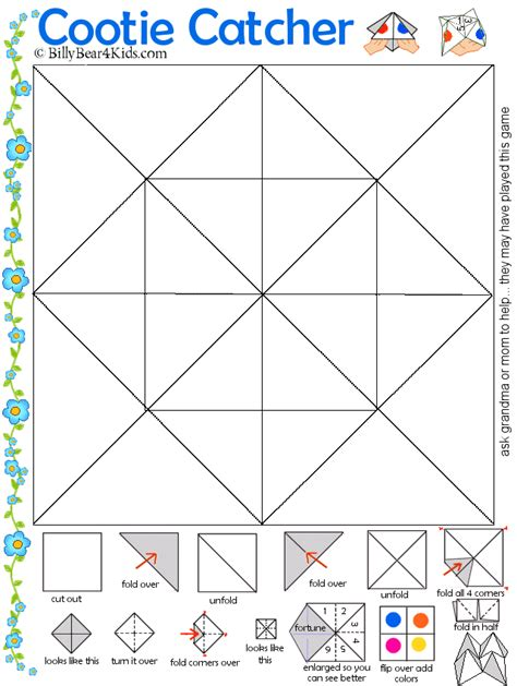 Fortune Teller Origami Template - cootie catcher template brownieish crafts