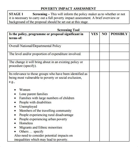 lln assessment template 44 free impact assessment templates in word excel pdf formats
