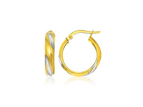 polished spiral hoop earrings in 14k two tone gold