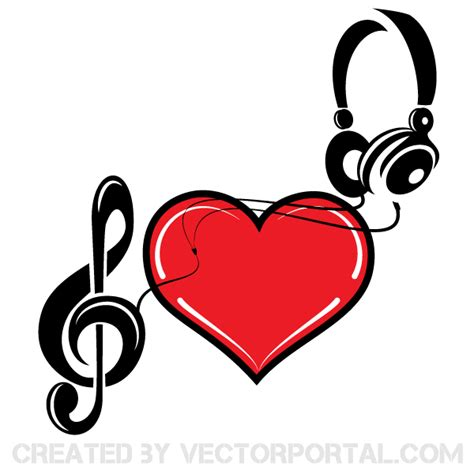 music of love heart vector art 123freevectors