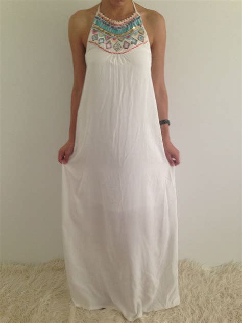 Longdress Pantai 8 halter beaded summer white boho maxi evening dress size 8 12 14 ebay