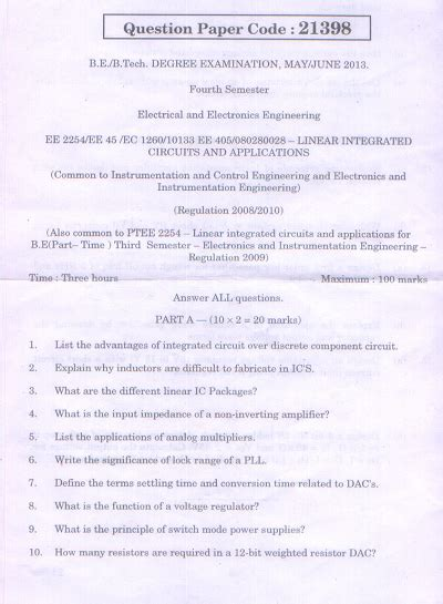linear integrated circuits question paper 2013 ee2254 linear integrated circuits and applications may june 2013 question paper
