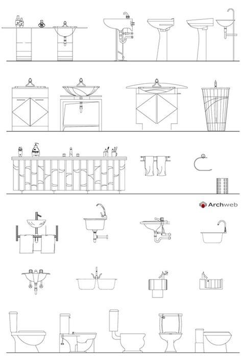 archweb bagno bagni sanitari in prospetto dwg