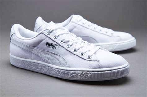 mens shoes puma basket classic canvas whitewhite