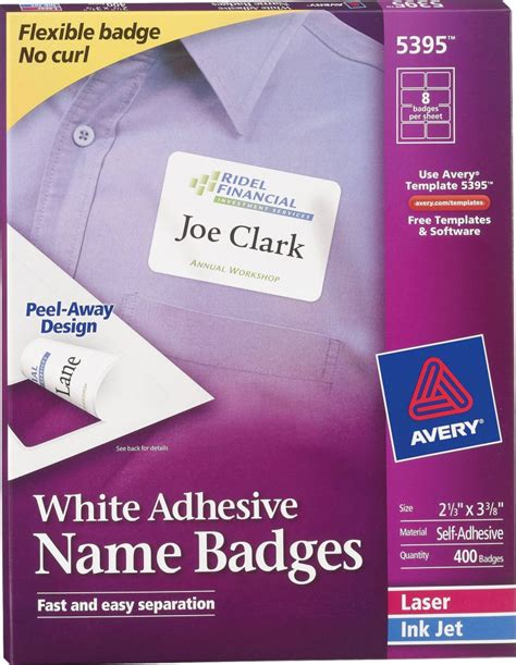 avery laminated id cards template avery 174 white adhesive name badges 5395 avery