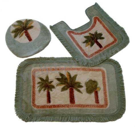 Palm Tree Bathroom Rug Palm Tree Bathroom Mat 3ps Toilet Cover Lid Mug Rug New Ebay