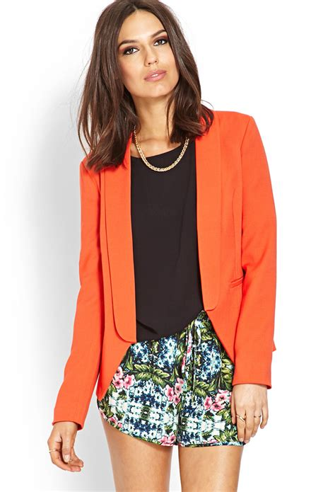 Forever21 Orange Erhnic Dress lyst forever 21 contemporary textured open front blazer in orange