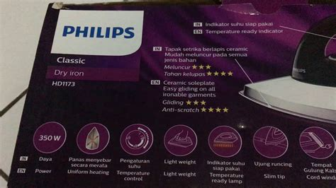 Philips Iron Hd1173 philips classic iron hd1173 setrika kering ceramic 350