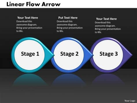 ppt linear demo create flow chart powerpoint arrow 3 phase