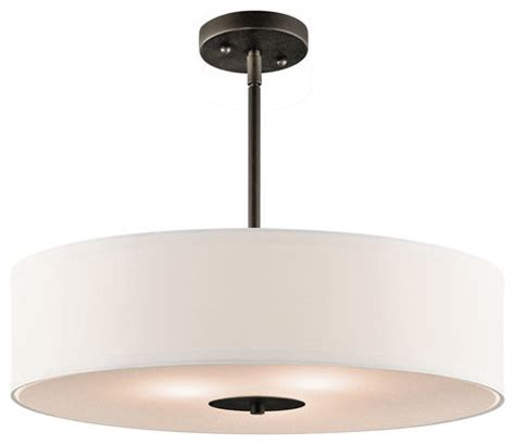 Drum Shaped Pendant Lights Kichler 3 Bulb Indoor Pendant Or Semi Flush Light With Drum Shaped Fabric Shade Transitional