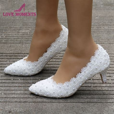 2 inches kitten heel dress shoes white pink lace flower prom shoes plus size 10