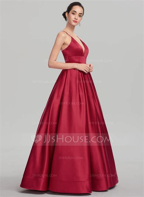 V Neck Prom Dress gown v neck floor length satin prom dress 018147708