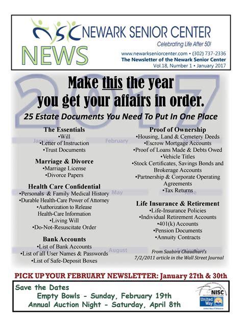 Nsc Release Letter Nsc Newsletter January 2017 By Newark Senior Center Issuu