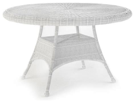White Wicker Patio Table Rockport 48 In Patio Dining Table White Wicker Traditional Outdoor Tables By