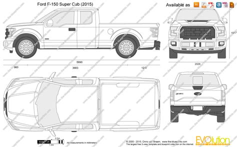 F Drawings Blueprints by Ford F 150 Cab Vector Drawing